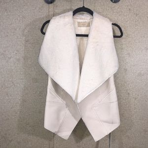 BLANK NYC Ivory Faux Fur Lined Vest